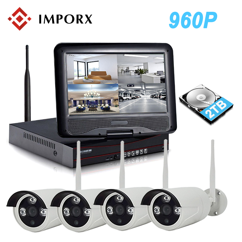 10LCD Monitor Screen 960P 4CH Wireless NVR Kit Wifi CCTV System P2P 1.3MP IP Camera Outdoor Video Security Surveillance Kit
