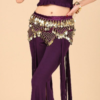 New Arrival Tribal Egypt Style Belly Dance Hip Scarfs Gold Coins On Belly Dancing Belt 7