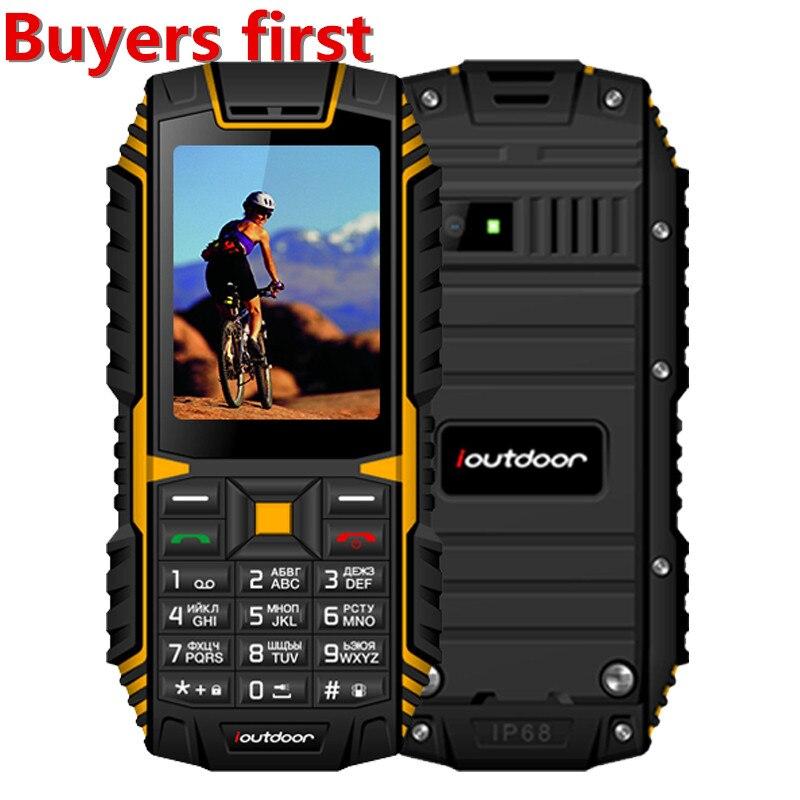 Оригинальный ioutdoor T1 IP68 Водонепроницаемый сотовый телефон 2,4 Inch 128 м + 32 м GSM 2MP FM MP3 2100 мАч прочный противоударный пыле мобильный телефон