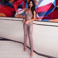 Feditch Summer Sequin V Neck Sexy Long Jumpsuit For Women 2018 Backless Evening Party Bodycon Bodysuit Rompers Womens Jumpsuits