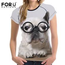 3D French Bulldog Printed Women T-shirt