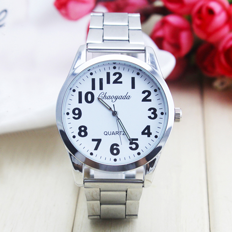 2018 Cyd New Women Men Couples Lovers Dress Fashion Quartz Watches Old Men Big Digital Stainless Steel Wristwatches Religious