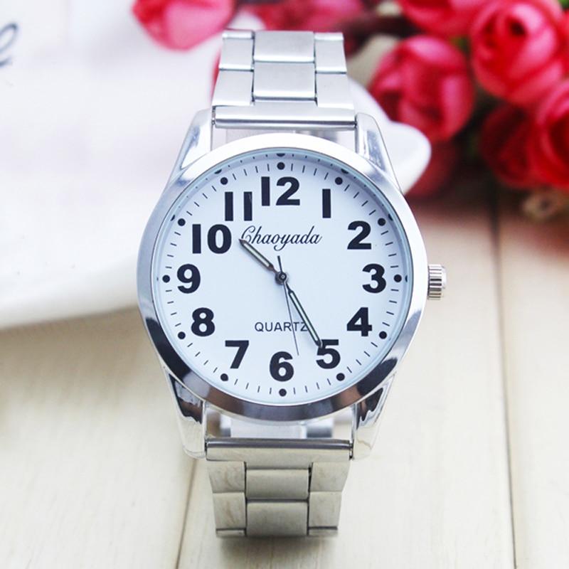 2018 Cyd New Women Men Couples Lovers Dress Fashion Quartz Watches Old Men Big Digital Stainless Steel Wristwatches Religious