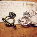 New Arrival 30set/lot Crown Antique Bronze and antique silver Plated Toggle Clasps Jewelry Findings