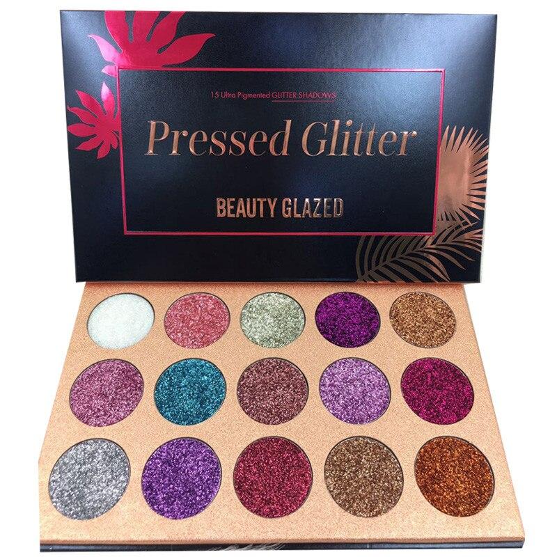 BELEZA VIDROS 15 Cores Da Paleta Da Sombra Glitter Glitters Pressionado Makeup Palette Cosméticos Diamante Ímã Paleta Dropshipping