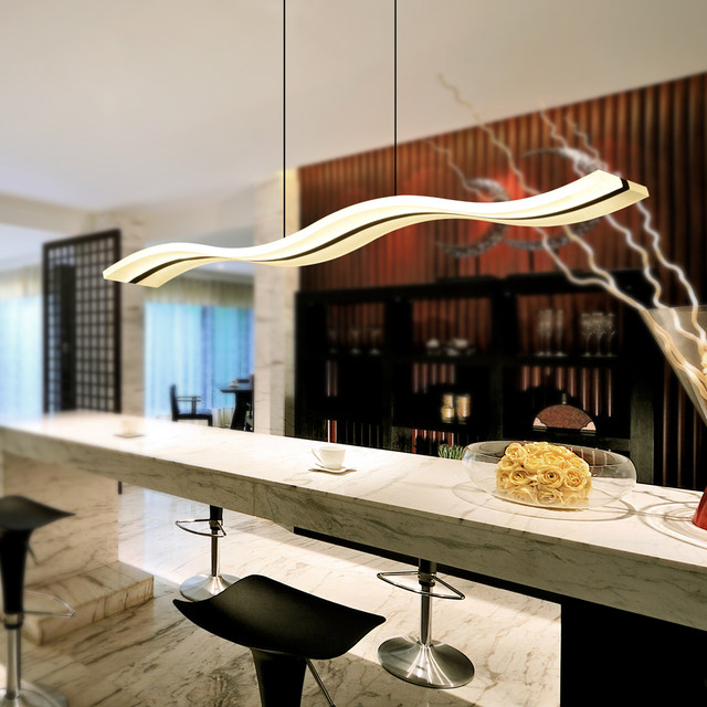 Modern Led Chandelier Dining Room Living Acrylic Lamp Home Lighting Wave Shape Dimming Chandeliers Light Fixtures Luminaire
