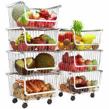 304 Edelstahl Gemüse Storage Rack mit 3/4 Tier Der Stapelbar Lagerung Körbe, mit Rädern für Bad Küche