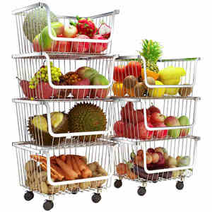 Image 1 - 304 Stainless Steel Vegetable Storage Rack with 3/4 Tier The Stackable Storage Baskets, with Wheels for Bathroom Kitchen