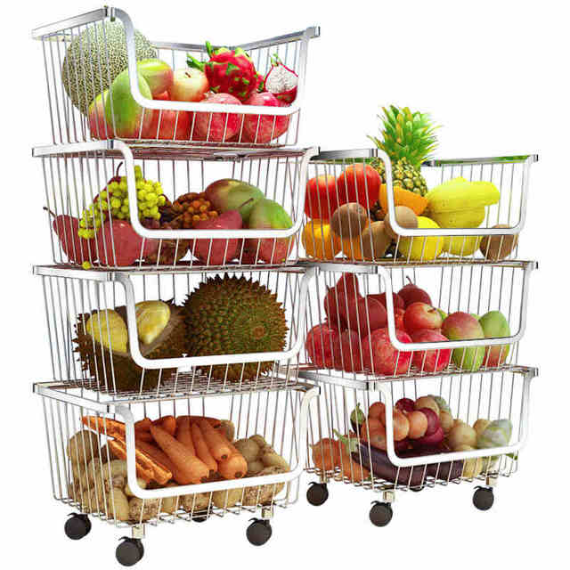 304 Stainless Steel Vegetable Storage Rack with 3/4 Tier The Stackable Storage Baskets, with Wheels for Bathroom Kitchen