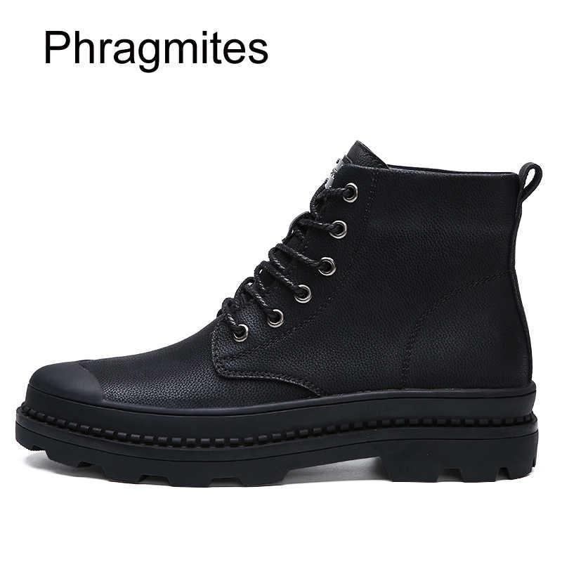 Phragmites Zwarte Mode Jurk Mannelijke Laarzen Warme Koe Split Mannen Schoenen Winter Plus Size 47 Snowboots Outdoor Anti- slip Martin Laarzen