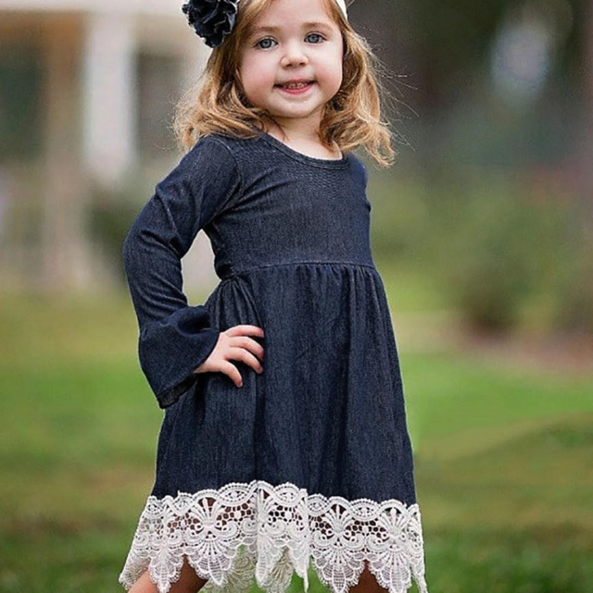 MUQGEW 2018 Spring New baby girl clothes Denim Flare Sleeve Dress Lace Splice Sundress Clothes Roupa Infantil Menina g#1