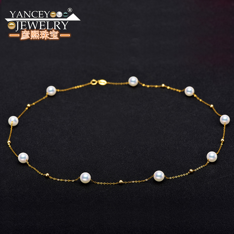 YANCEY Hot Stars round pearls bright luster fashion elegant Akoya pearl necklace lady 18k gold clavicle chain in Necklaces from Jewelry Accessories
