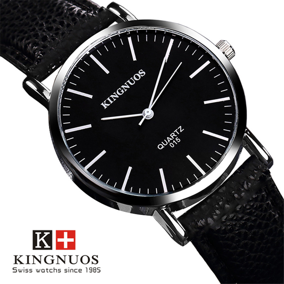 KINGNUOS Watchband Leather Wristwatch Brand Genuine Men Watch Three Needle Dial Clock Quartz Wrist watches Male Relogio Hodinky new listing men watch luxury brand watches quartz clock fashion leather belts watch cheap sports wristwatch relogio male gift
