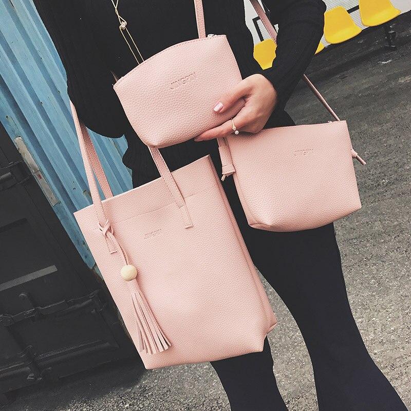 2017 New Women Handbag Shoulder Bag Totes Purse 3pcs Set Retro Wooden Beads Composite Bag Fashion Handbag Crossbody Bag OR966545 2017 tassel fashion composite bag retro wild handbag totes european and american style shoulder bag