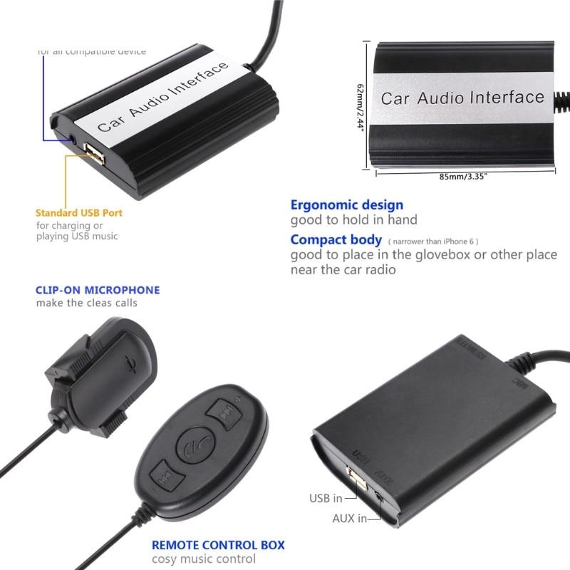 Hot nouveau 12 broches Auto voiture Bluetooth musique kit mains libres MP3 AUX adaptateur Interface USB charge pour Toyota Lexus Scion 10166 - 6