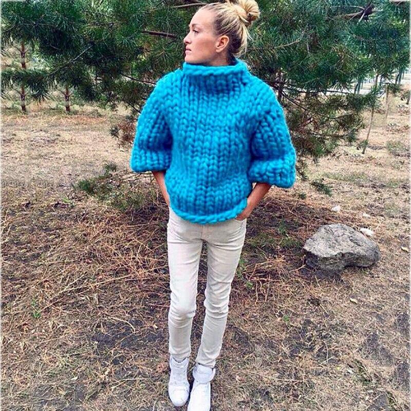 2017 diseño de moda puro hecho a mano grueso suéter abrigo mujer invierno grueso cálido de cuello alto blanco suéter-in Pulóveres from Ropa de mujer    3