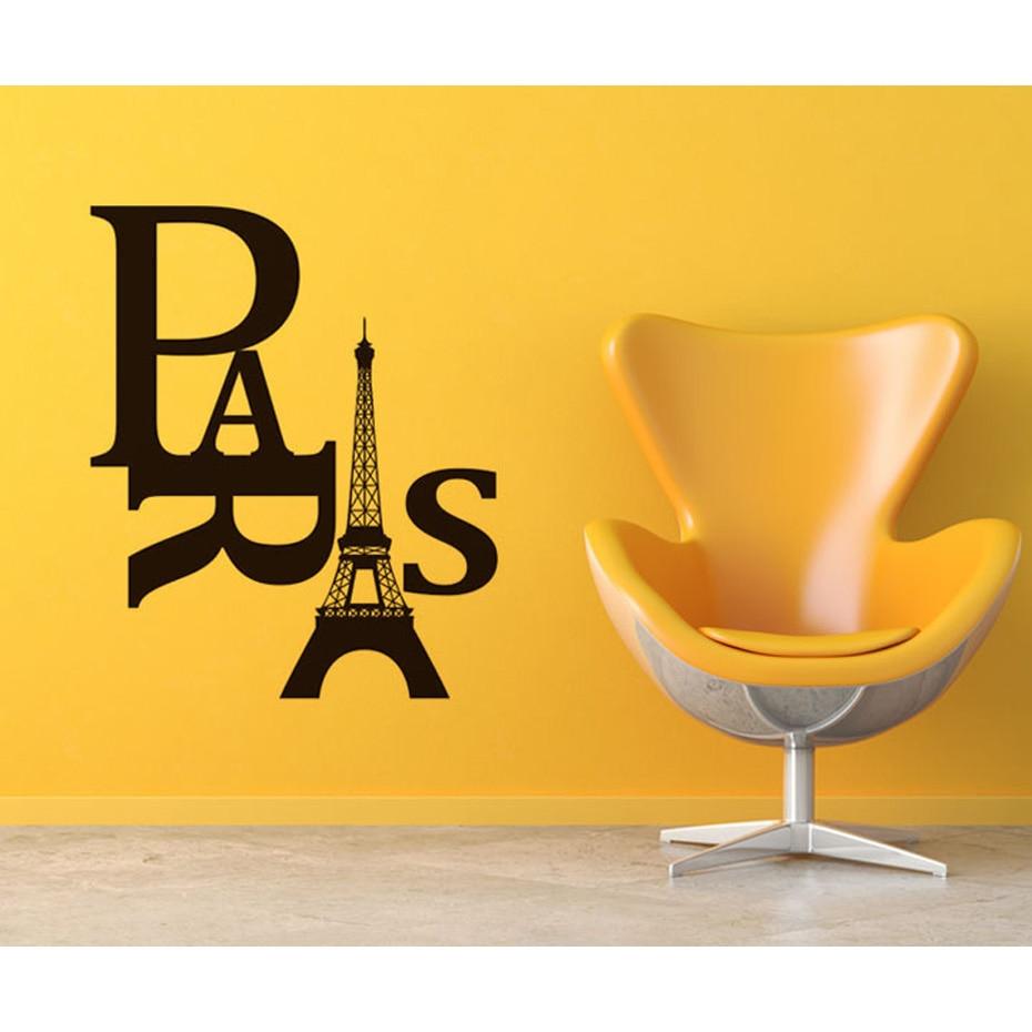 Paris Eiffel Tower DIY Removable Wall Decal Decor Brown Vinyl ...