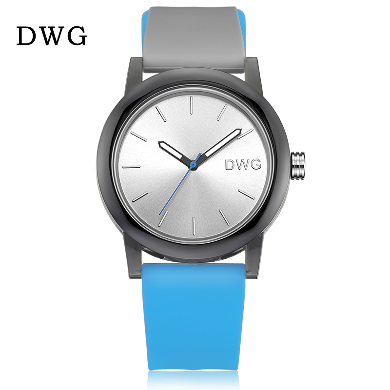 DWG Brand Fashion Sport Watches Silicone Band Ladies Watch Quartz Movement Wristwatch for Women Men Clock 3Bar Waterproof dwg brand new wooden watch japan quartz movement rhinestone lady fashion wrist watches for women natural solid wood strap clock