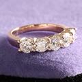 1.25 Carat F Color Moissanite Diamond Engagement  Wedding Band Half Eternity Matching Band Real 14K 585 Yellow Gold