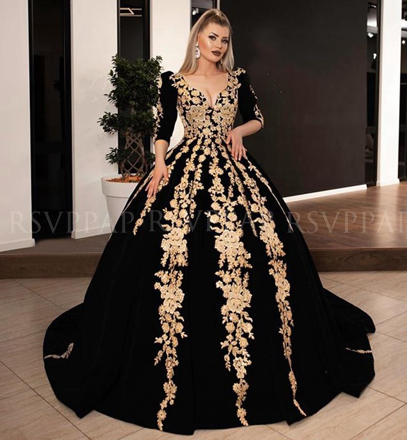 Long   Evening     Dresses   2019 Gorgeous Ball Gown 3/4 Long Sleeve V-neck Arabic Gold Lace Velvet Black Women Formal   Evening   Gowns