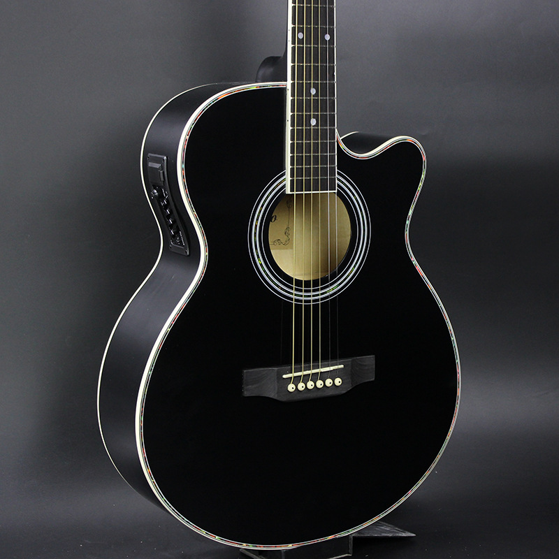 40-47 guitars Black Colour 40 inch Electric Acoustic Guitar Basswood wood guitar pickup tuner strings custom shop handmade limited edition andy summer tribute tele electric guitar tl guitar boost tuner h switch to s pickup tuner