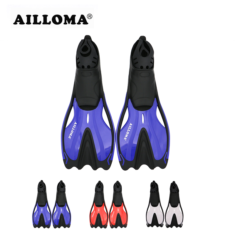AILLOMA Professional Underwater Diving Equipmennt Flipper TPR gomma morbida Longblade Duck Feet Pinne per lo snorkeling Nuoto