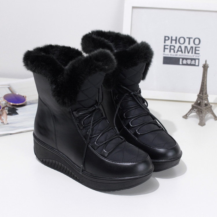 Black White Women Boots Warm Plush Winter Shoes Woman Wedge Botines Mujer 2019 Plus Size Rubber Platform Ankle Snow Boots