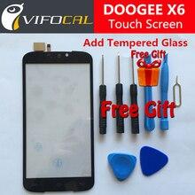 Doogee x6 сенсорный экран 100% первоначально дигитайзер внешний стекло замена панели для doogee x6 pro 5.5 дюймовый мобильный телефон