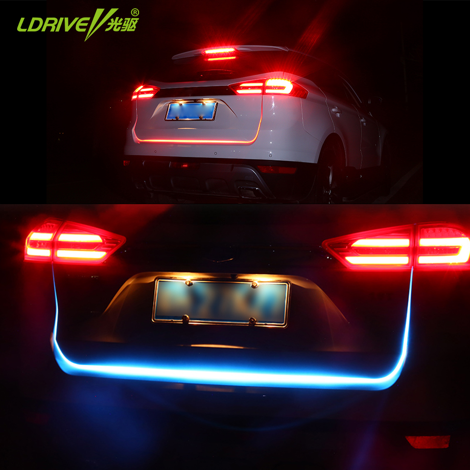 120cm car styling led strip lighting rear trunk tail light car 120cm car styling led strip lighting rear trunk tail light car streamer brake turn signal led warning light strips for bmw audi in signal lamp from aloadofball Gallery