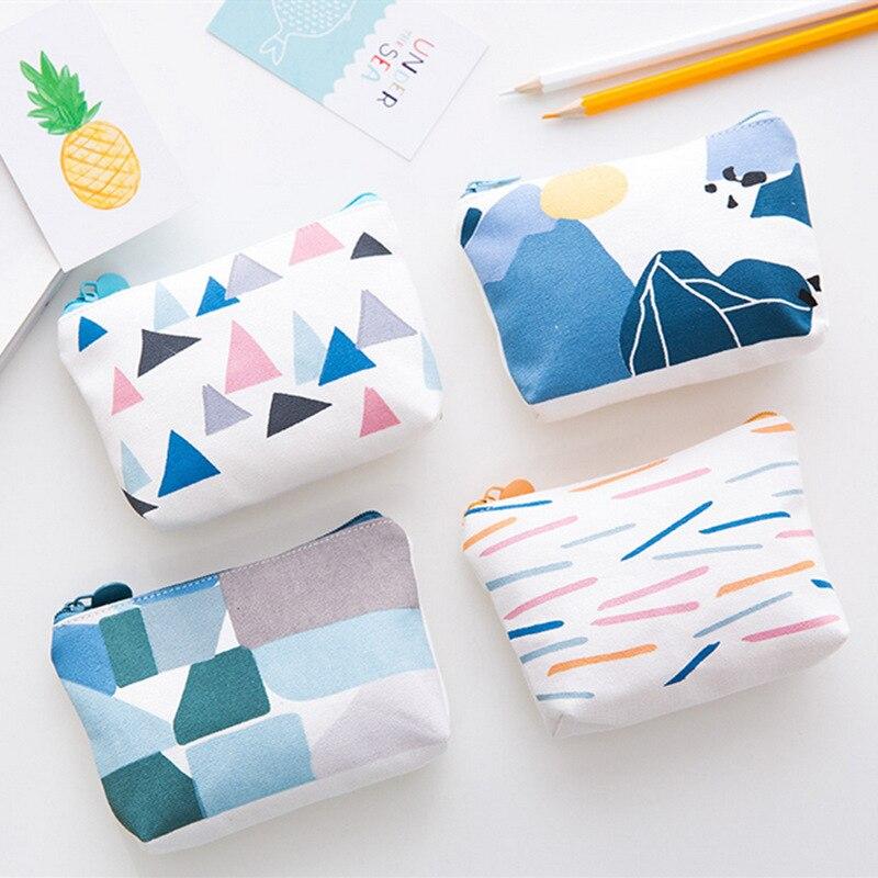 Canvas Kids Purse Mini Money Bag Children Girls Wallet Floral Printing Card Holder Key Pouch Change Pocket Earphone Storage Bag