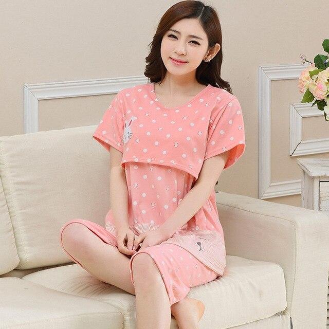 Maternity Nursing Pajamas Print Summer Pregnant Clothes T Shirt + ...