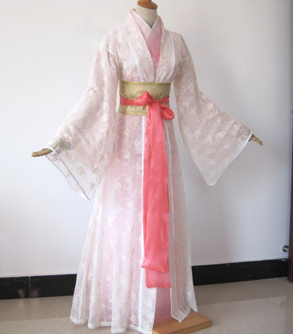 Liu YiFei 2 Designs White Pink Fairy Costume For TV Play The Condor And The Lovers Wang YuYan Drama Costume Hanfu