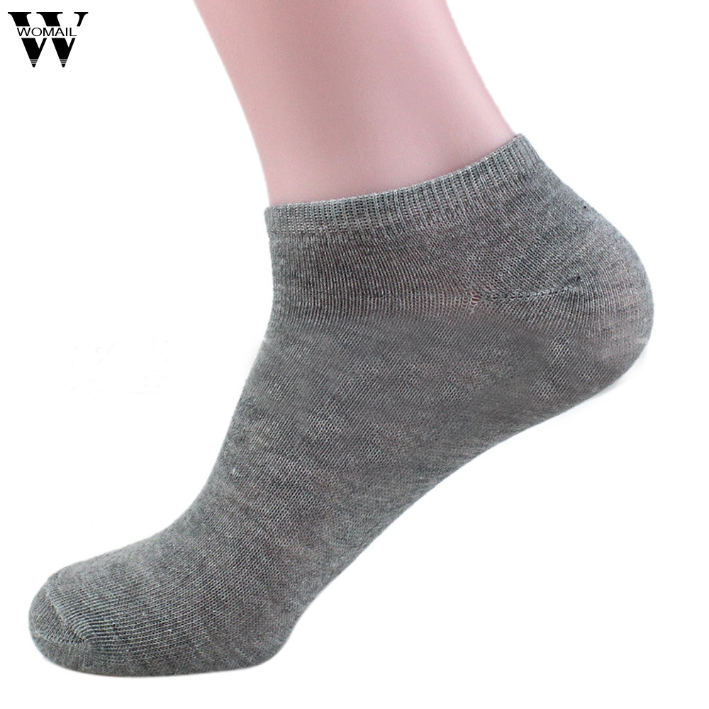 Jan 27 1 Pair Spring Summer Solid Color Men Cotton Blend Short Invisible Socks High Quality