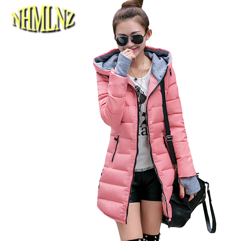2017 Winter Jacket Korean Latest Fashion Women Cotton Coat Hooded Gloves sleeved Medium long Slim Jacket Thicken Warm Coat G1789
