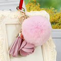 2016 fashion fluffy keychain pom poms keychains fur pompons keychain shape flower leather PU tassel key chain charm bag pendant