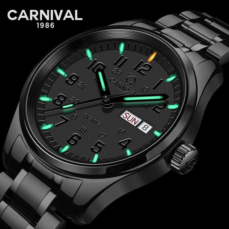 T25 Gás Trítio Luminosa Relógio de Quartzo Homens Top Marca de Luxo Completa Aço Relógios À Prova D' Água Mens Relógio de Carnaval erkek kol saati