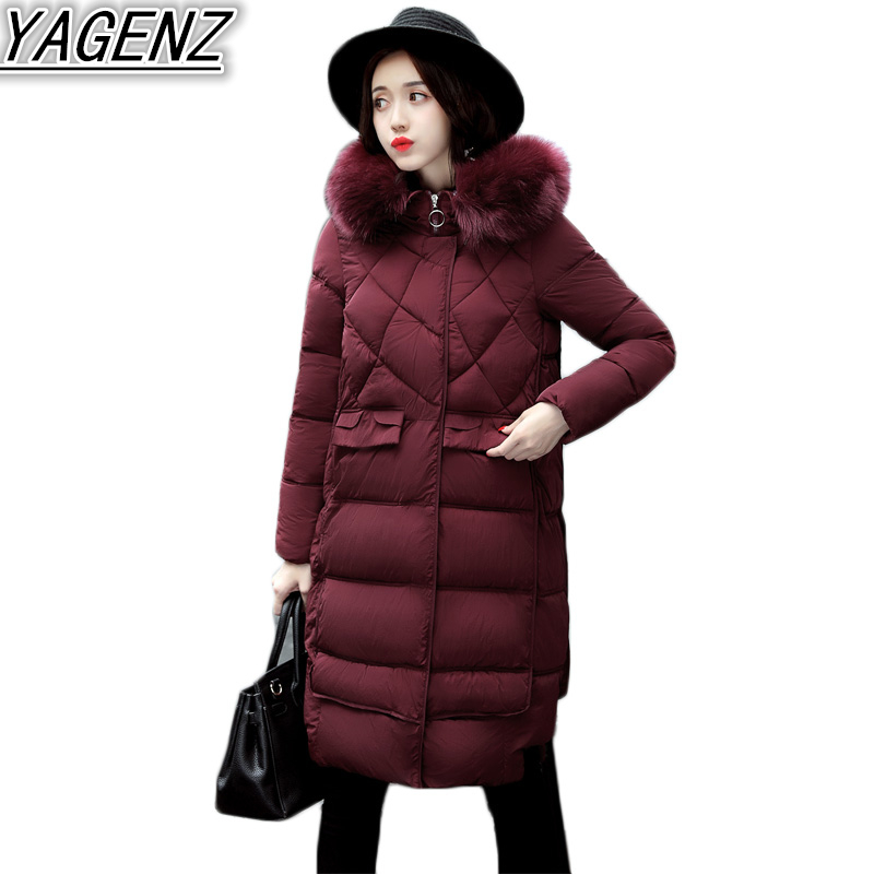 2017 Winter Cotton Clothing Women Slim Stylish Long section Cotton Coat Female Down Cotton Big fur collar Hooded Jacket Overcoat