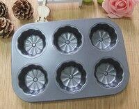 Envío gratis antiadherente 6 cups flor torta en forma de Pan Pan Muffin Mooncake de acero al carbono de huevo tarta del molde para hornear