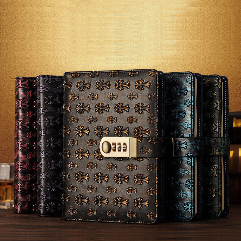 NEW leather Diary Vintage notebook with Lock code password business Notepad stationery Products offic school supplies gift a5 fashion business notepad lock password leather notebook diary of charge to an account notebook