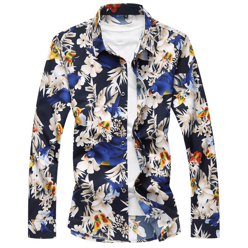 Long Sleeve Flower Print Mens Dress Shirts