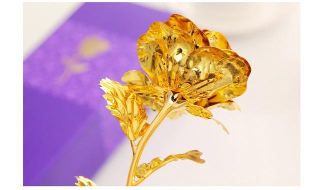 Best Gift For Girlfriend Golden Rose Wedding Decoration Golden Flower Valentine's Day Gift Gold Rose Gold Flower with Box -15 3