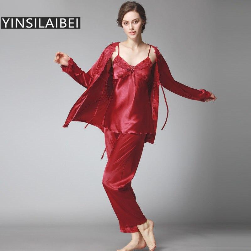 68eb6e6b06251 2016 Hiver de Soie Pyjamas pour Femmes Satin Pyjama Ensembles Mujer  Feminino Hiver Pyjamas Femmes de Nuit De Nuit SY108 #35 dans Pyjama  Ensembles de ...