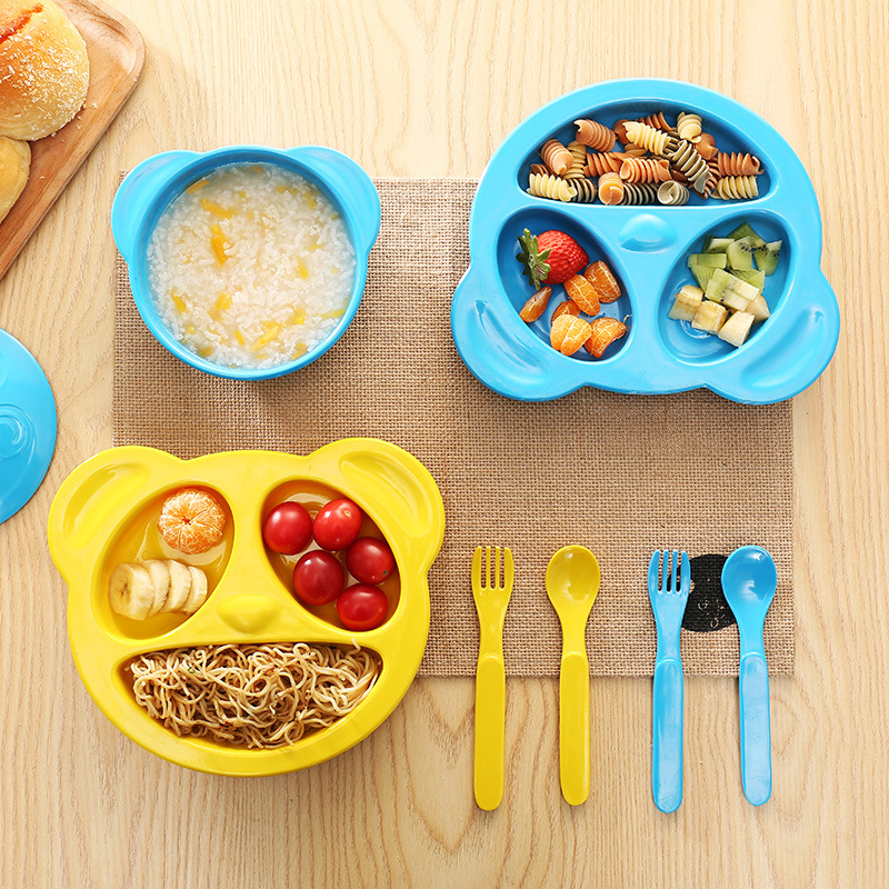 4pcs/Set New Cartoon Melamine Flatware Set Toddler Baby Kids Plate Bowl With Forks Spoon Dinnerware Set Kids Child Tableware Set