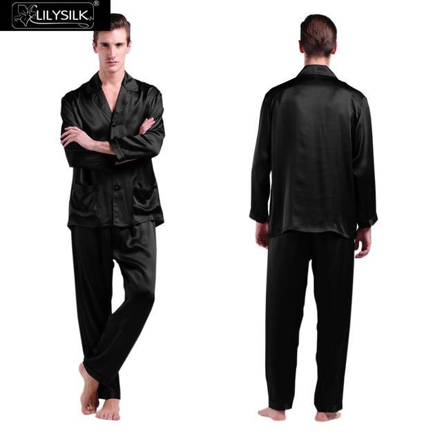 Lilysilk 22 Momme длинные шелковые пижамы комплект для мужчин 2016 модал для сна с пуговицы осень зима гладкие шорты и рубашка комплект мужские
