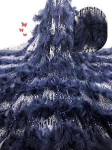 Image 5 - Di Qualità eccellente JIANXI.C 62001 Tulle Africano Tessuto Africano Del Merletto Francese Tessuto di Pizzo con la piuma