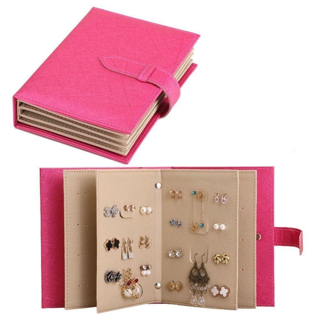 Jewelry Organizer, Portable Earring Holder Travel Jewelry Case Pu Leather Earring Holder With Book Design (Fuchsia)