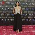 V Neck Celebrity Evening Dresses With Lace Appliques Beaded Robe De Soiree Long Satin Black Vestido De Festa Red Carpet Gown