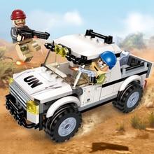 все цены на Enlighten 128Pcs Military Building Blocks Peacekeeping Force Thunder Mission Car Playmobil Bricks Compatible Toys онлайн