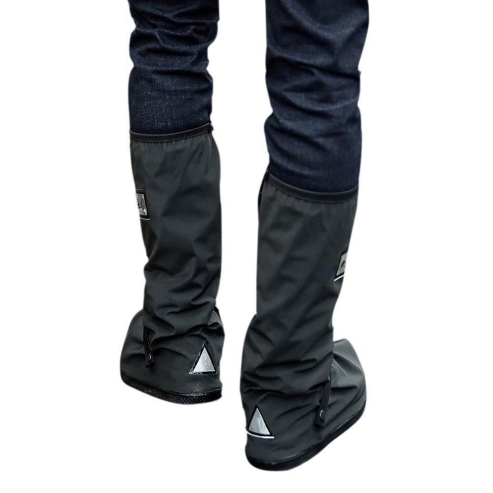 4e2c6491423 Cubiertas de botas negras impermeables antideslizantes impermeables  reutilizables de tirantez ajustables para montar en motocicleta Ciclismo en  días ...
