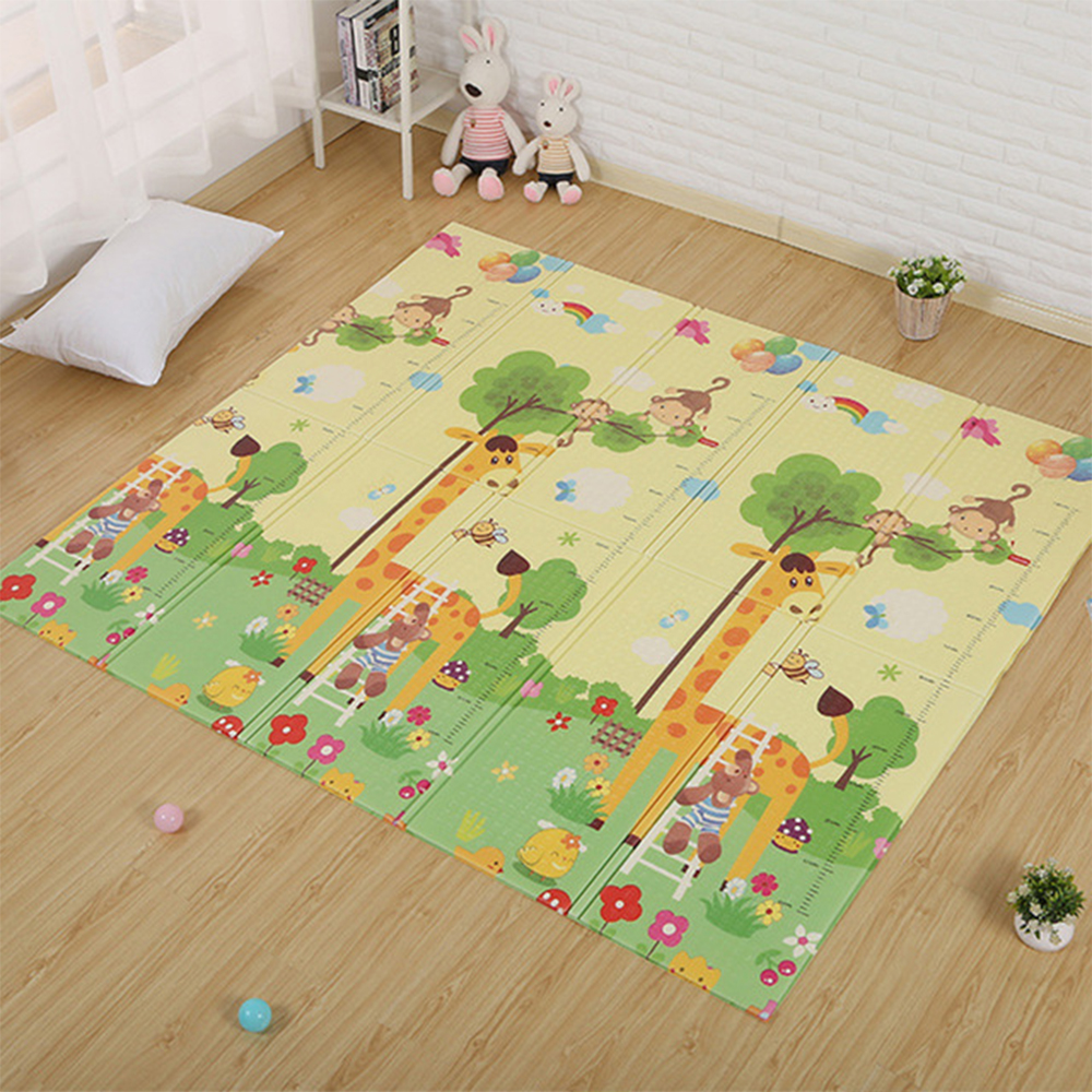 180X200CM Infant Play Mat Cartoon Baby Floor Mat Foldable Anti-skid Carpet Children's Rug Puzzle Carpet In The Nursery Game Mat wood grain flannel skid resistant rug